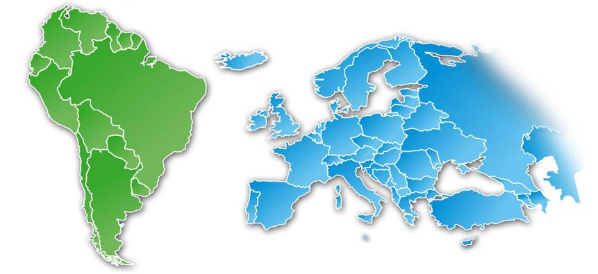 América do Sul e Europa